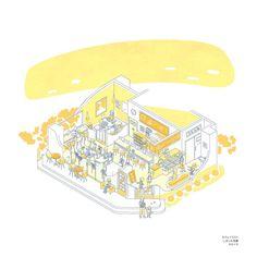 色数をしぼった建物のイラストです Diagram