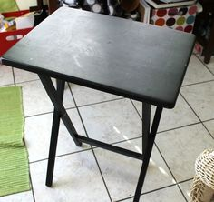 TV tray turned DIY craft table - Mod Podge Rocks