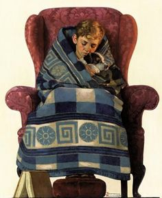 Norman Rockwell boy-and-dog-snuggled-in-blanket.jpg 491×600 pixels