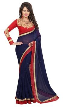 blue embroidered faux georgette saree with blouse - FASHION - 1569403 Georgette Sarees, Lehenga, Furniture Ideas, Two Piece Skirt Set, Blouse, Skirts, Beautiful, Dresses, Design
