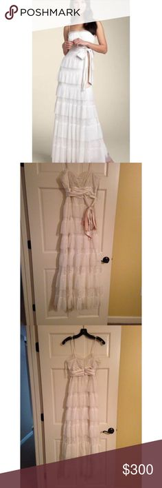 BCBG Max Azria White Ruffle Tier Wedding Gown Beautiful BCBG Max Azria white ruffle tier lace wedding gown. Worn only 1 time. Size Small. BCBGMaxAzria Dresses Wedding