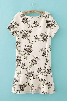 Short Sleeves Fancy Printed Slim Dress