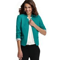 "Pop Color Jacket in LOFT Scuba - Flaunting a notched stand collar and adorable flap pockets, this have to have is impeccably designed in LOFT Scuba - its slightly thicker, textured stretch weave supports and smoothes for a flawless fit. Long sleeves. Open front. Lined. 21 1/4"" long."