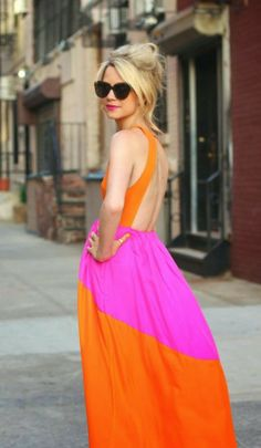 Orange And Pink Combination Maxi With Shades | STYLE ME 2 DAY