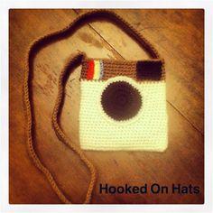 Crochet camera purse by HookedonhatsByAli on Etsy