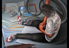 'The Red Shoelace' painting, by MAIA OPREA, more on www.maia-fine-art.com