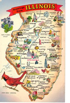 Greetings from Illinois  State Map Postcard  by heritagepostcards