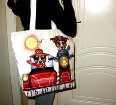 Travel Dogs Tote Bag – Happy Dogs - Cotton Velvet Tote - Large Bags – Red, Blue Hand Bag – Great Gifts By Ladies.