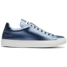 Jil Sander Low-top satin trainers ($300) ❤ liked on Polyvore featuring shoes, sneakers, flats, light blue, satin flats, low profile sneakers, satin shoes, flat pumps and low profile shoes