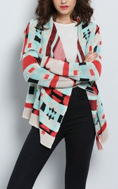 Love the look of this geometric print cardigan from SheIn.