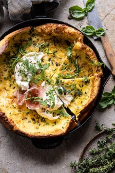 This Savory Herb Butter Dutch Baby is maybe the only breakfast you'll ever need. Rich, packed with protein, full of fresh herbs, and finished in 30 minutes, you won't ever look back. Vegetarian Recipes, Cooking Recipes, Amish Recipes, Dutch Recipes, Savory Herb, Good Food, Yummy Food, Tasty, Herb Butter