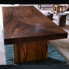 Items similar to Straight Edge Dining Table Reclaimed Golden Acacia Wood Solid Slab (Walnut Color Stain) ft Length on Etsy Dining Furniture, Modern Furniture, Furniture Design, Bespoke Furniture, Furniture Ideas, Straight Edge, Wood Table Design, Live Edge Table, Wood Ceilings