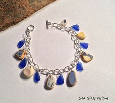Sea Glass & Sea Pottery Jewelry Bracelet Dangle by SeaGlassVisions, $30.00