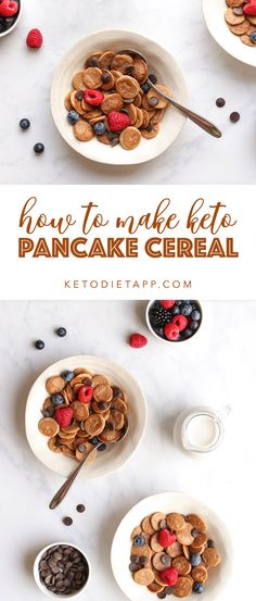 A step by step guide to making cute bite-sized mini pancake cereal. The latest TikTok sensation made low-carb and keto! Mini Pancakes, Keto Pancakes, Waffles, New Recipes, Low Carb Recipes, Whole Food Recipes, Carbs Protein, Low Carb Sweeteners, Waffle
