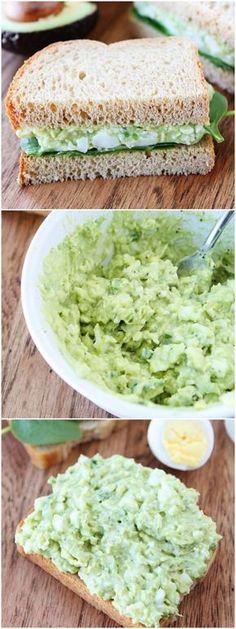Avocado Egg Salad Recipe on twopeasandtheirpod.com The BEST egg salad recipe!