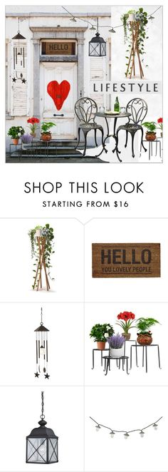 """Front Door"" by calamity-jane-always ❤ liked on Polyvore featuring interior, interiors, interior design, home, home decor, interior decorating, Bloomingville, Smart Solar, homedecor and homeset"
