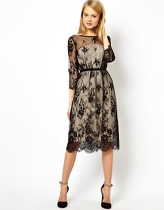 Browse online for the newest ASOS Pretty Scallop Lace Midi Dress styles. Shop easier with ASOS' multiple payments and return options (Ts&Cs apply). Pretty Outfits, Pretty Dresses, Beautiful Dresses, Modest Clothing, Modest Outfits, Lace Midi Dress, Dress Skirt, Robes Midi, Costume