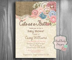 943 best baby shower invites images on pinterest in 2018 baby cute as a button shabby chic rustic burlap baby shower invitation printable filmwisefo