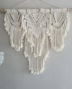 Modern Macrame Plant Hanger Without Tassel on Bottom, Small or Large Boho No Tail Plant Holder, Succulent Planter, Farmhouse and Hygge Decor Modern Macrame, Macrame Art, Macrame Design, Macrame Projects, Macrame Knots, Macrame Wall Hanging Patterns, Large Macrame Wall Hanging, Macrame Patterns, Art Macramé