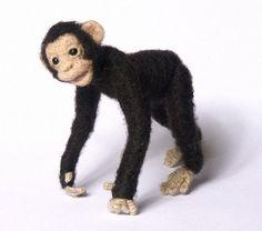 Needle Felted Miniature Chimpanzee by DinkyWorld at Etsy