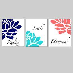 Navy Aqua Coral Floral Bathroom Art - Set of Three 8x10 Prints - Relax, Soak, Unwind - Flowers - Petals - Bathtub - Spa - Choose Your Colors...
