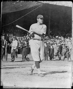 New York Yankee Babe Ruth in the batting cage as newsreel photographers look on, September 27 1925.