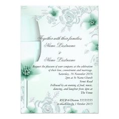 Wedding Mint Green Floral Blossoms Roses Card