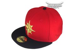 Custom Seattle Mariners Red-Gold 59Fifty Fitted Baseball Cap by NEW ERA x MLB