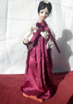 Korea Doll in traditional rich plum and cream Hanbok 11 inches, Mid century