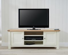 Buy the Somerset Oak and Cream TV Unit at Oak Furniture Superstore