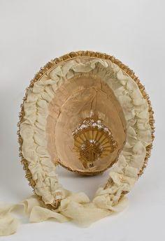 Victorian Clothing at Vintage Textile: #7411 Openwork straw bonnet