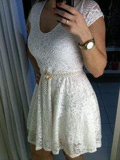 Vestido em renda maravilhoso! Ultimo no tamanho P www.boutique.iluria.com #lookdavirada #renda #branco #Boutique Online Boutiques, White Dress, Dresses, Fashion, Lace, Outfits, Vestidos, Moda, Fashion Styles