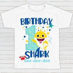 Baby Shark Birthday Shirt - Boys Birthday Shirts - Birthday Shirt - Baby Shark T-shirt - Birthda 1st Birthday Boy Shirt, Boy Birthday Parties, Birthday Outfits, Baby Birthday, Birthday Ideas, Baby Hai, Shark Party Supplies, Shark T Shirt, Cool Baby Stuff
