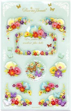 cute 3D Collage stickers butterfly & flower mint