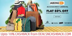 Accessories carnival flat 50% off on sunglasses, watches & travelbags @jabong + get upto 10% cashback from dealsncashback.com  www.dealsncashback.com/merchants/jabong  ‪ #‎jabongoffers‬ ‪#‎travelbags‬ ‪#‎dealsncashback‬ ‪#‎watches‬ ‪#‎sunglasses‬ ‪#‎dealsindia‬ #cashbackindia #shopping