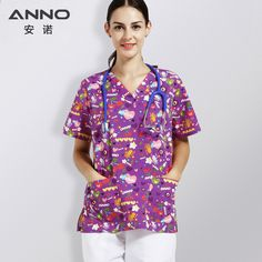 99228f3ac62 Sommer Purple Print Krankenpflege Uniform Medical Scrub Anzüge Passende  Kinderkrankenhaus Ärzte Kleidung Krankenschwestern Wear Beauty Salons