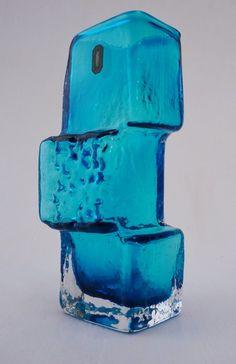 Whitefriars Drunken Bricklayer vase, Kingfisher blue, 1966, English @ www.roomscape.net