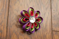 Flower Hair Clip Ribbon Sculpture by KidHearted on Etsy, $4.75