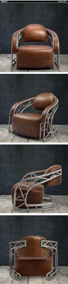 Кресло в стиле лофт с металлическим каркасом коричневого цвета купить https://lafred.ru/catalog/catalog/detail/19191857160/ #IndustrialChair