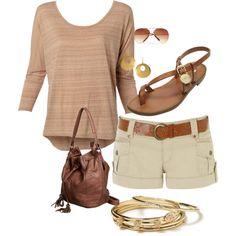 Summer outfit shorts, created by jennifer-olexa-williams on Polyvore