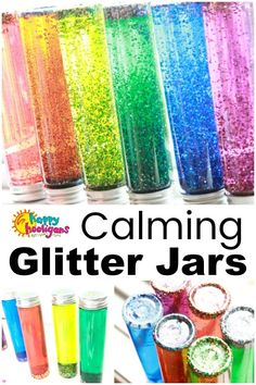 A Calming Glitter Jar is easy to make using clear glue, hot water, glitter and food colouring. Sensory Bottles For Toddlers, Sensory Bottles Preschool, Glitter Sensory Bottles, Glitter Jars, Glitter Calming Jar, Sensory Wall, Sensory Boards, Rainbow Sensory Bottles, Sensory Motor