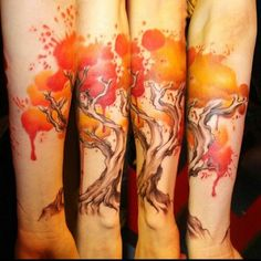 Watercolor tattoo orange/red tree twisty