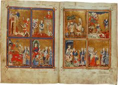 Virtual books: images only - Golden Haggadah: Scenes from Exodus, folios Egypt, Gothic, Miniatures, Turning, Artwork, Painting, Image, Books, Goth
