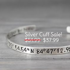 Silver Coordinate Cuff, Latitude Longitude Bracelet, Coordinate Bracelet, Coordinate Cuff, Personalized Gift Idea, Personalized Jewelry
