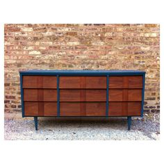 Rustic Mid Century Dresser In Navy Blue ($299) found on Polyvore