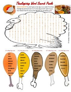 Thanksgiving Word Search Puzzle for fun in all classes