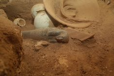 Ancient Egyptian goldsmiths' tomb excavated in northern Kush (Sudan). Khnummose, a master gold worker, and an unidentified woman thought to be his wife was buried by his side. Inside the 18th Dynasty, 3,400-year-old Tomb on Sai Island, archaeologists found this stone shabti [Credit: AcrossBorders project/Julia Budka]