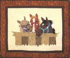 "Horsing Around quilt pattern at Cowgirl Quilt Designs.  Diane says:  ""You will love these three expressive horses looking over their fence."""