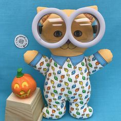 """Happy Halloween!!! I could not resist these Minion glasses. Luckily they sort of fit """"Cat in Pajamas"""". Link in Profile for my Spoonflower shop."""