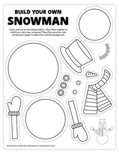 Printable Crafts, Templates Printable Free, Free Printables, Printable Worksheets, Build A Snowman, Snowman Crafts, Gingerbread Man Template, Christmas Activities, Sunday Activities